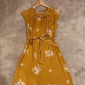 LOFT - Yellow dress with sweet floral details